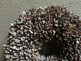 Bakuli wreath krans beukennootjes vergrijsd 30 cm beuk landelijk
