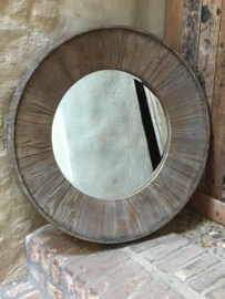 Grote ronde vergrijsd houten spiegel landelijk 80 cm stoer robuust vergrijsde hout rond