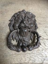 Gietijzeren deurklopper leeuw bruin
