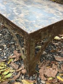 Industriële metalen salontafel bijzettafel tafel 92 x 61/62 x H47 cm gerecycled metaal ijzer industrieel urban vintage landelijk grijsbruin stoer