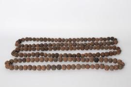 Rozenkrans ketting houten kralen rudraska 40 cm bruin decoratie landelijk