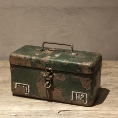 Stoer metalen kist kistje bak kratje legerkratje legerkistje legerkistje army landelijk industrieel kistje schaal bak landelijk stoer oud
