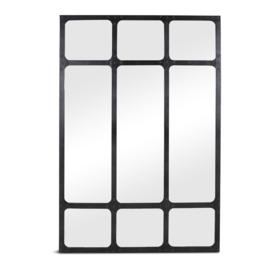 Prachtige zwarte zwart metalen spiegel fabrieksraam 183 x 123 cm stoer industrieel urban landelijk vintage stalraamspiegel kozijn venster wandpaneel wanddecoratie tuinspiegel stalraam