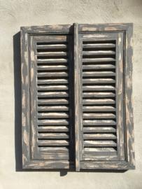 Grijs houten venster met Louvre luiken landelijk hout raam 90 x 60 cm kozijn raamkozijn wanddecoratie Wandpaneel