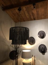 Prachtige grote zwart grijze kroonluchter lamp hanglamp rond 60 cm landelijk stoer