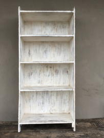 Oud wit houten schap rek Schoenenrek keukenrek vintage boekenkast wit schap rek kastje planken keukenrek kast planken landelijk bakkersrek broodrek  boerenkeuken winkelkast keukenkast
