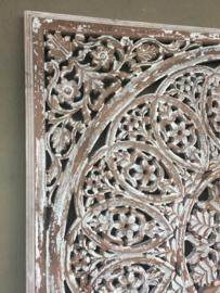 Prachtig groot vierkant Wandpaneel wandornament landelijk oud old white shabby wit naturel hout doorgeschuurd 120 x 120 cm