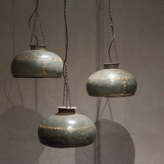 Industriele landelijke oude metalen lampekap ketel voor hanglamp incl ketting industrieel landelijk vintage urban metaal