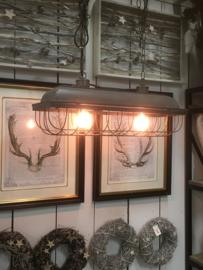 Stoere industriële lange brede grijs grijze metalen lamp fabriekslamp hanglamp grijs metaal landelijk industrieel korf korflamp