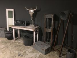 Witte houten klaptafel markttafel tafel buro bureau 120 X 57 x H76 cm wit Ibiza doorgeschuurd sleets sidetable oud hout landelijk vintage industrieel