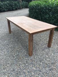 Stoer oud Teakhouten eettafel tafel boerentafel kloostertafel teak  landelijk 260 X 100 cm houten blad eettafel