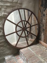 Groot rond metalen stalraamspiegel ronde stalraam kozijn venster tuinspiegel 100 cm spiegel rond zwart kozijn venster landelijk industrieel vintage
