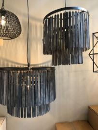 Prachtige grote zwart grijze kroonluchter lamp hanglamp rond 45 cm landelijk stoer