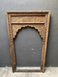 Groot Oud houten lijst sierlijst kozijn 183 x 100 cm venster paneel landelijk Oosters  tempellijst
