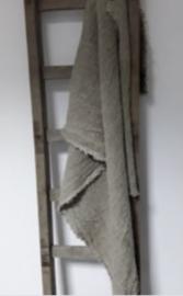 Shabby plaid 150x98 lap stof doek theedoek handdoek stoer landelijk naturel beige linnen grof
