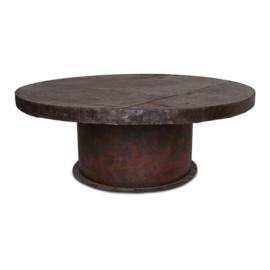 Stoere grote metalen ronde tafel metaal bruin 210 cm rond landelijk industrieel robuust