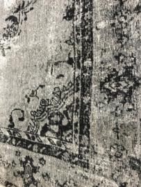 Vintage zwart grijs tapijt kelim vloerkleed sleets shabby chique chiq wandkleed 230 x 160 cm zwart grijs