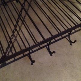 Stoer landelijk smeedijzeren metalen wildrek 100 x 50 cm industrieel keukenrek wildhaak