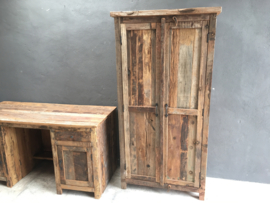 Stoere dichte houten kast truckwood railway hout 175 x 90 x 45 cm 2 Deurs landelijk stoer robuust