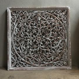 Stoer landelijk oud houten wandpaneel naturel wit whitewash wandornament wanddecoratie 90 x 90 cm hout panelen luiken