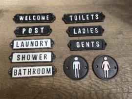 Gietijzeren plaatje deur bordje deurbordje naambordje Gents heren toilet mannen wc zwart wit landelijk nostalgisch industrieel grootmoederstijd brocant