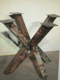 Stoer metalen tafelonderstel tafelpoot metaal urban industrieel blokpoten console poot voet grijsbruin