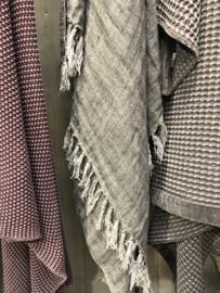 Grof linnen plaid grijs bruin mullvad metalen 100 % linnen taupe grijsbruin 170 x 130 cm deken landelijk stoer sober