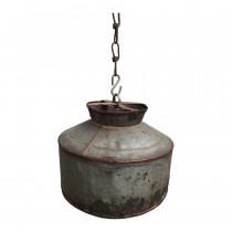 Oude metalen lampenkap ketel industrieel landelijk vintage sleets lampekap grijsbruin
