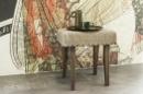 Stoere kruk met grof jute/linnen bekleding landelijk stoer vintage krukje grijs taupe bankje