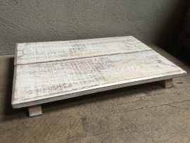 Oude houten plank offertafeltje bajot naturel wit off of white opstapje vintage oosters industrieel landelijk brocant offerplank dienblad plateau