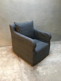 Prachtige stoffen linnen fauteuil fauteuils landelijk sober grijs grijze antraciet graphit