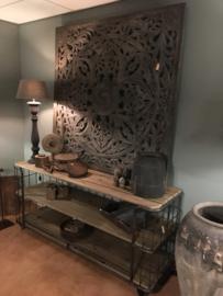 Prachtig groot grijs houten wandpaneel gemaakt 150 x 150 cm landelijk vintage industrieel bruin