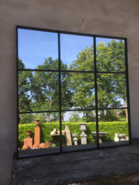 Groot vierkant zwart metalen stalraamspiegel 118 cm vierkante stalraam kozijn venster tuinspiegel spiegel zwart kozijn venster landelijk industrieel vintage