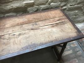 Stoere landelijke houten metalen Sidetable 120 cm buro werkbank tuintafel klaptafel markttafel industrieel landelijk klaptafel
