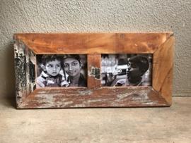 Sloophout sloophouten houten fotolijst voor 2 foto´s vintage india landelijk