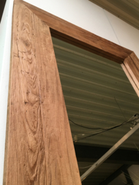 Zeer grove teakhouten houten hout spiegel lijst 200 x 90/100 cm passpiegel hout stoer landelijk industrieel teakhout