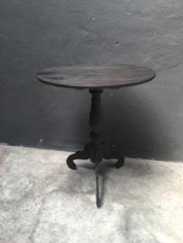 Ovaal houten wijntafel wijntafeltje bijzettafel zwart grijs donkergrijs antraciet  bijzettafeltje landelijk 60 x 42 cm
