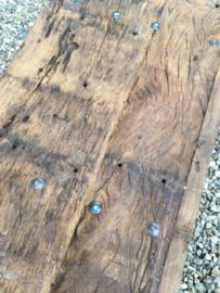 Stoere industriële Salontafel bijzettafel tafel tafeltje industrieel landelijk metaal hout metalen houten