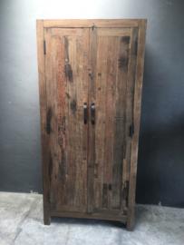 Stoere oud houten 2deurs grote dichte kast 195 x 90 x 40 cm landelijk stoer industrieel trucwood Railway grof hout