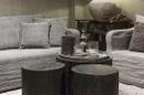 Zwart groot rond houten bijzettafel bijzettafeltje tafel tafeltje salontafel ronde tafeltjes landelijk stoer 60 x 45 cm