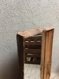 Landelijk stoer ruw grof houten teakhouten spiegel stronk vintage stoer hout