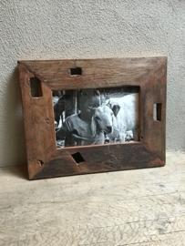 Sloophouten fotolijst lijstje grof ruw houten lijst vintage hout landelijke stijl