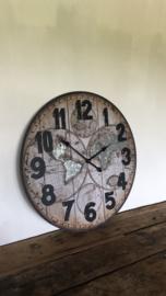 Industriële grote klok wandklok industrieel hout 70 cm metaal grijs zink hout landkaart wereldkaart wereldbol vintage stoer grijs bruin