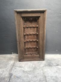 Oud vergrijsd houten paneel wandpaneel wanddecoratie 91 x 60 x 15 cm met metalen details landelijk stoer sober Luik