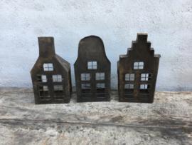 Metalen huisje huisjes kandelaar theelicht theelichtje landelijk vintage industrieel urban