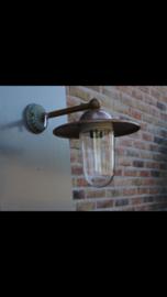 Koperen buitenlamp lantaarn stallamp tierlantijn wandlamp  incl glazen stolp