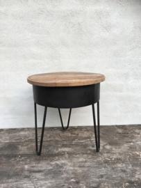 Stoer industrieel tafeltje bijzettafeltje kruk krukje zuil sokkel 64 cm metaal hout industrieel vintage landelijk zwart naturel