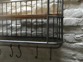 Grijs metalen met houten wandrek 1 legplank 6 haken  handdoekenrek schap kapstok landelijk industrieel