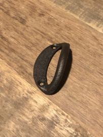 Gietijzeren handvat handvaten deurknop halve maan half maantje deurknopje gebogen zwart greepje open