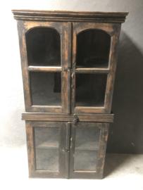 Prachtig origineel Oude Indische glaskast servieskast kast kastje met deuren landelijk vintage
